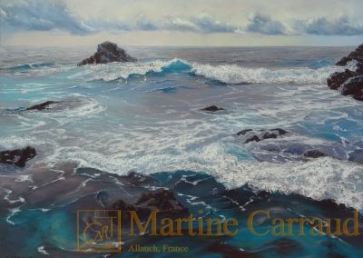 AFFLEUREMENT - Tableau 80 x 60 cm. Peinture à l'huile sur toile. Marine Méditerranée. Martine Carraud artiste peintre.