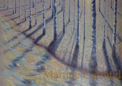 ÉTÉ - Arbres .Tableau 100 x 100 cm. Peinture à l'huile sur toile.Tableau de 2017. Martine Carraud artiste peintre