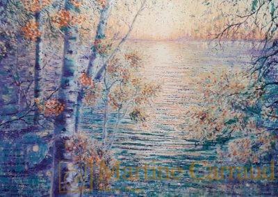 Arbres - Féerie. Tableau 80 x 80 cm. Peinture à l'huile sur toile. 2020. Martine Carraud artiste peintre contemporain