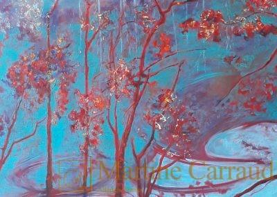 FANTAISIE - Arbres. Tableau 100 x 50 cm. Peinture à l'huile sur toile. Tableau de 2019. Martine Carraud artiste peintre