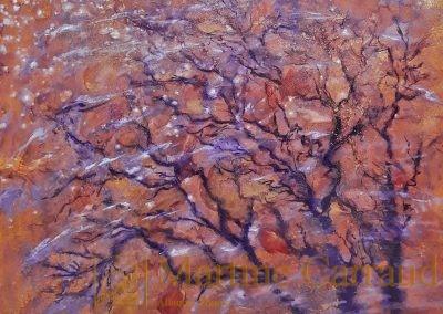 FRÉMISSEMENTS - Arbre .Tableau 80 x 80 cm. Peinture à l'huile sur toile. 2020. Martine Carraud artiste peintre