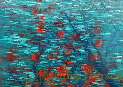 IMMERSION - Arbres . Tableau 80 x 60 cm. Peinture à l'huile sur toile 2019_ Martine Carraud artiste peintre contemporain