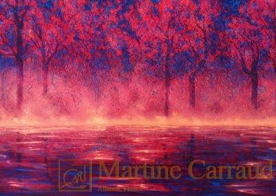 INSPIRATION - Arbres .Tableau 80 x 40 cm. Peinture à l'huile sur toile. 2019. Martine Carraud artiste peintre