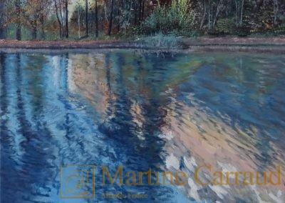 REFLETS D'AUTOMNE - Arbres .Tableau 30 x 30 cm .Peinture à l'huile sur toile. Haute Savoie.2017.Martine Carraud artiste peintre