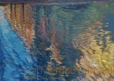 Arbres - Symphonie d automne.Tableau 100x50cm. Peinture à l_huile sur toile. Haute Savoie 2018. Martine Carraud artiste peintre français contemporain