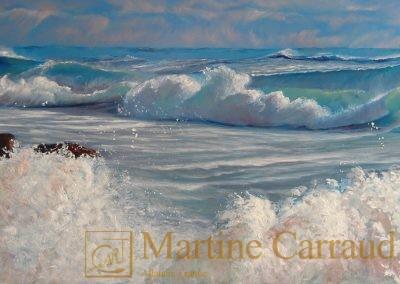 DÉFERLANTES - Tableau 100 x 50 cm. Peinture à l'huile sur toile. Méditerranée.2015. Martine Carraud artiste peintre