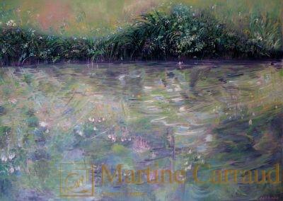 Eaux douces - Clavel.Tableau 70x50cm. peinture à l_huile 2013. Martine Carraud artiste peintre