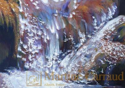 RUISSELLEMENT - eaux douces .Tableau .70 x 50 cm .Peinture à l'huile sur toile 2016.Martine Carraud artiste peintre