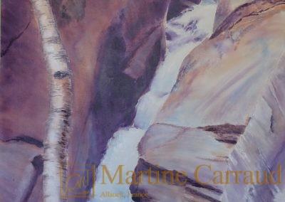 - SERPENT D'EAU - art figuratif , rivière. Peinture acrylique sur toile 200 x 100 cm. Martine Carraud artiste peintre