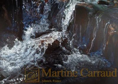 eaux douces. TORRENT - Tableau 73 x 60 cm. Peinture à l'huile sur toile. 2016. Martine Carraud artiste peintre