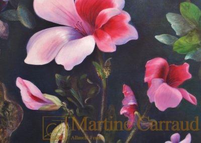Fleurs - Pelargonium. Tableau 60x40cm.Techniques mixtes 2010 - Martine Carraud - Artiste peintre français contemporain