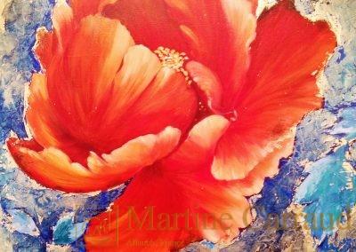 Fleurs - Pivoine. Tableau 80 x 60 cm. Peinture à l'huile sur toile 2013.Martine Carraud artiste peintre contemporain