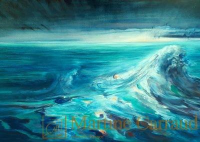 Marines - paysage méditerranéen - Naufrage.Tableau 80x40cm. Peinture à l_huile sur toile 2020. Martine Carraud artiste peintre français contemporain
