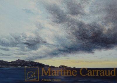 Marines - paysage méditerranéen - Nuées.Tableau 70x50cm. Peinture à l_huile sur toile. 2017. Marseille. Martine Carraud artiste peintre français contemporain