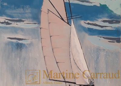 Ondée.Tableau 100 x 50 cm. Peinture au couteau à l_huile sur toile 2019. Martine Carraud artiste peintre contemporain français
