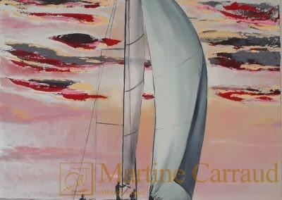 PERLE DE MER - Art contemporain. Voilier. Peinture au couteau à l'huile. Martine Carraud artiste peintre contemporain