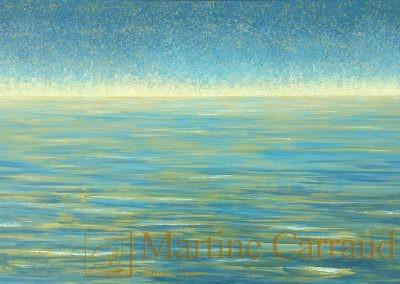 MarinePLÉNITUDE - Tableau 60 x 30 cm. Peinture à l'huile sur toile.2019. Martine Carraud artiste peintre