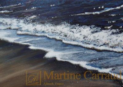 RIVAGE. Mer méditerranée. Tableau 100 x 50 cm. Peinture à l'huile sur toile 2016. Martine Carraud artiste peintre