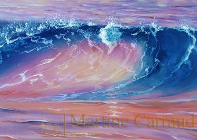 VAGUE D'AMOUR - Paysage marin .Tableau 120 x 40 cm. Peinture à l_huile sur toile.2018. Martine Carraud artiste peintre