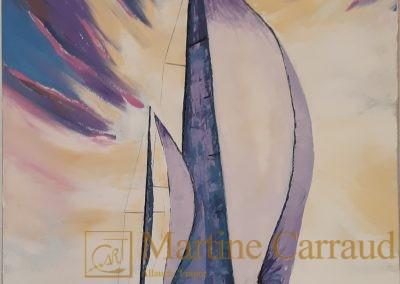 Marines VERS L'INFINI - Voilier. Peinture au couteau. Tableau 100 x 50 cm. peinture à l'huile sur toile 2019. Martine Carraud artiste peintre