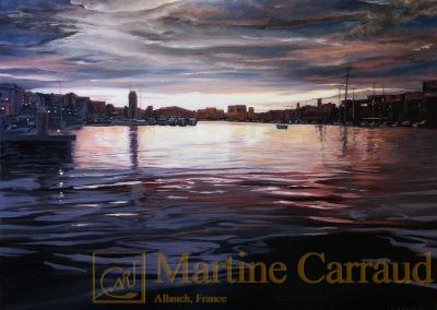 CRÉPUSCULE - Port de Marseille. Tableau 80 x 60 cm. Peinture à l'huile sur toile .2015. Martine Carraud artiste peintre
