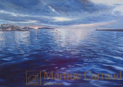 EN ATTENTE - Marseille, esplanade du Mucem.Tableau 81 x 54 cm. Peinture à l'huile sur toile. 2016. Martine Carraud artiste peintre