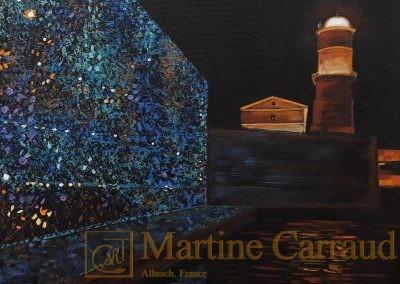 JOYAUX - Tableau 40 x 40 cm Peinture à l'huile sur toile 2016. le Mucem. Martine Carraud artiste peintre