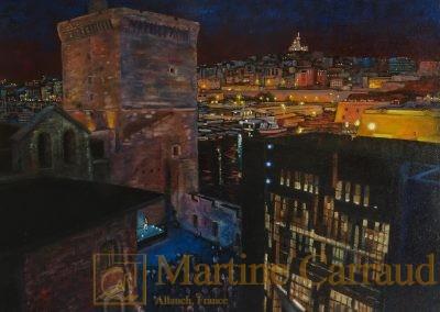 LUMIÈRES SUR SAINT JEAN -.Tableau 40 x 40 cm. Peinture à l'huile sur toile 2016. Martine Carraud artiste peintre