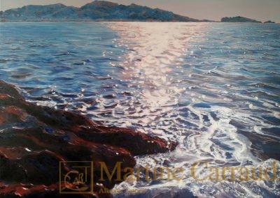 Marseille-Malmousque. Tableau 80x60cm. Marine Peinture à l_huile sur toile 2014. Martine Carraud artiste peintre