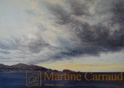 NUÉE - Tableau 70 x 50 cm. Peinture à l'huile sur toile 2017. Marseille. Martine Carraud artiste peintre