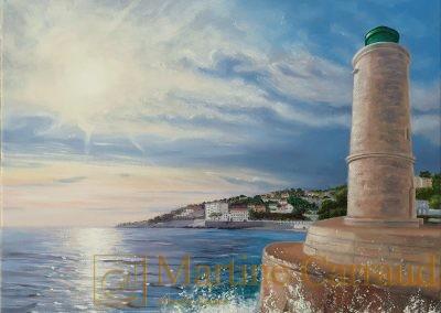 Marseille - PHARE DE CASSIS - Port de Méditerranée Tableau 40 x 30 cm. Peinture à l'huile sur toile 2019.Martine Carraud artiste peintre