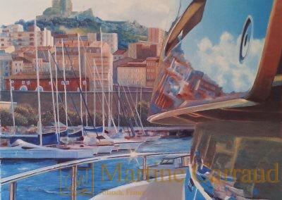 Marseille - paysageSUR LE DÉPART - . Tableau 100 x 50 cm. Peinture à l'huile.Marseille.2015. Martine Carraud artiste peintre