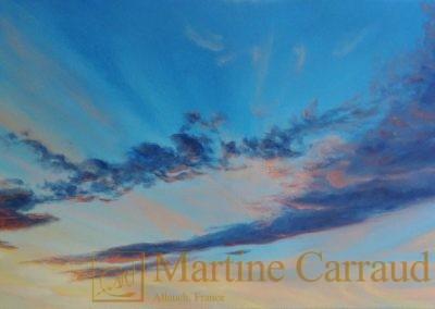 CIEL D'AUTOMNE - Tableau 100 x 50 cm. Peinture à l'huile sur toile.2018. Martine Carraud artiste peintre