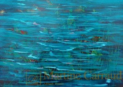 ONDINES - Tableau 55 x 46 cm. Peinture à l'huile sur toile. 2019.Martine Carraud artiste peintre