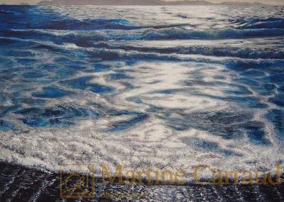 PLAGE DE CABASSON - . Tableau 80 x 60 cm. Peinture à l_huile sur toile 2016. Var,Méditerranée. Martine Carraud artiste peintre