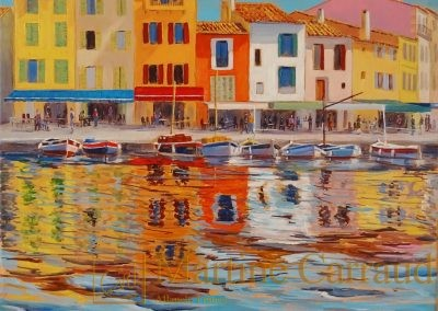 - CASSIS - Tableau 30 x 30 cm de 2019 port méditerranéen. Martine Carraud artiste peintre