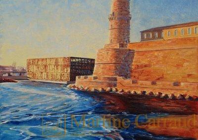 FORT SAINT JEAN - . Tableau 30 x 30 cm. Peinture à l'huile sur toile. Port de Marseille.2016