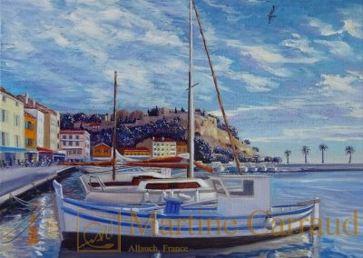 Ports méditerranéens - Port de Cassis.Tableau 30x30cm. Peinture à l_huile sur toile.2018. Martine Carraud artiste peintre.français contemporain