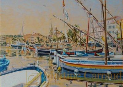 SANARY - port de Méditerranée Tableau 30 x 30 cm. peinture à l'huile sur toile 2016. Martine Carraud artiste peintre