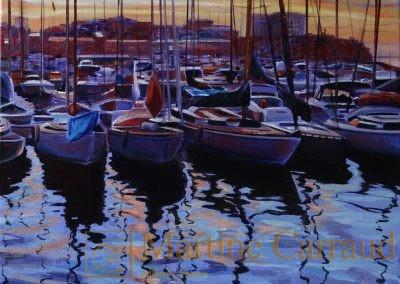 Ports méditerranéens - Soir d'été.Tableau 30 x 30 cm.Peinture à l_huile sur toile. Marseille. 2017. Martine Carraud artiste peintre