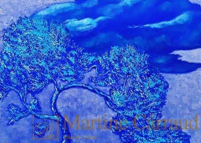 DRAGON BLEU - Huile sur toile 40 x 40 cm. Tableau de 2020 Martine Carraud artiste peintre