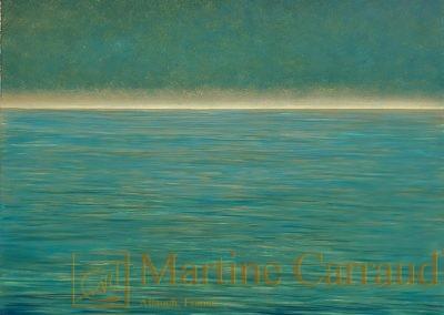 HORIZON -Huile sur toile 100 x 100 cm Tableau de 2019 Martine Carraud artiste peintre