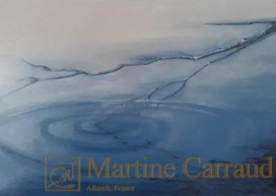 ONDES - branche au dessus de l'eau. Huile sur toile 100 x 50 cm. Tableau de 2020. Martine Carraud artiste peintre