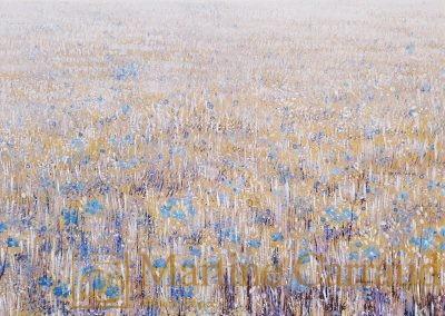PRAIRIE - 80 x 40 cm. Peinture à l'huile sur toile. Tableau de 2020. Martine Carraud artiste peintre. Paysage imaginaire