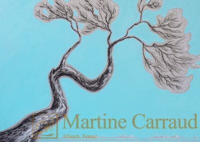 ONDOYANTE - Huile et fusain sur toile de lin . 60 x 60 cm. tableau de 2020 Martine Carraud artiste peintre
