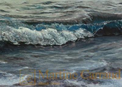 VAGUE à L'ÂME-Méditerranée. Marine. Paysage. Huile sur toile 150 x 50 cm. Tableau de 2017. Martine Carraud artiste peintre..