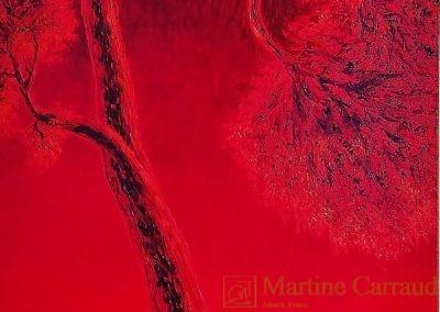 Rougeoiement. Arbre. Pin, coucher de soleil sur la mer huile sur toile . 150 x 50 cm