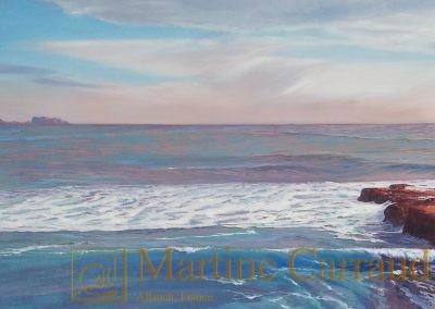 """""""INVITATION AU VOYAGE"""" - Carry le RoueHuile sur toile - 150 x 50 cm - Peinture de Martine Carraudt - Vue sur Marseille-"""