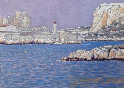 """""""LE CHEMIN BLEU"""" Marseille - Iles du Friouhuile sur toile - 30 x 24 cm- Peinture de Martine Carraudl- Château d' if- Marine-"""