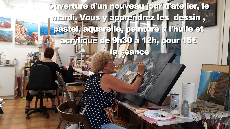Cours de peinture et de dessin collectif - Atelier de Martine Carraud - artiste peintre- Allauch